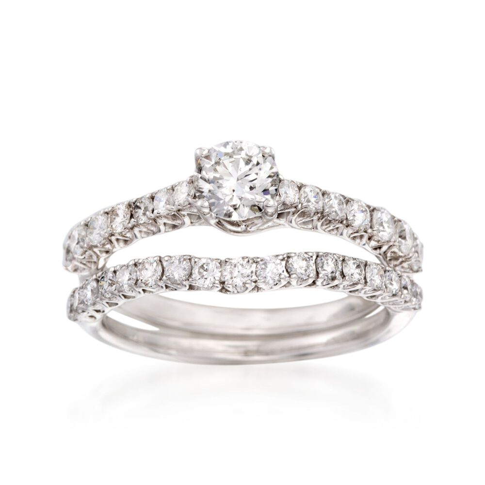 T W Diamond Bridal Set Engagement And Wedding Rings In 14kt White Gold