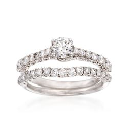 1.16 ct. t.w. Diamond Bridal Set: Engagement and Wedding Rings in 14kt White Gold, , default