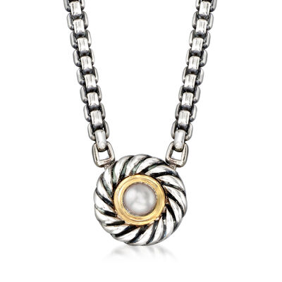C. 2000 Vintage David Yurman Cultured Pearl Necklace in Sterling Silver and 14kt Yellow Gold, , default