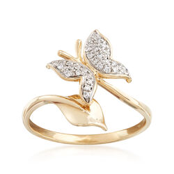 .12 ct. t.w. Diamond Butterfly Ring in 14kt Yellow Gold, , default