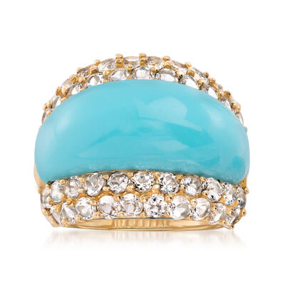 C. 1980 Vintage Reconstituted Turquoise and 3.00 ct. t.w. White Topaz Ring in 14kt Yellow Gold, , default