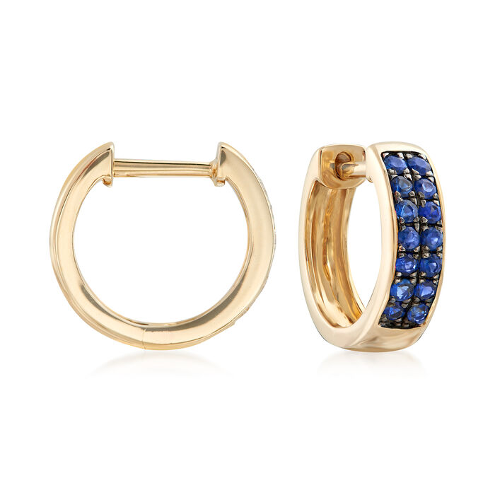 ".20 ct. t.w. Sapphire Huggie Hoop Earrings in 14kt Yellow Gold. 3/8"", , default"
