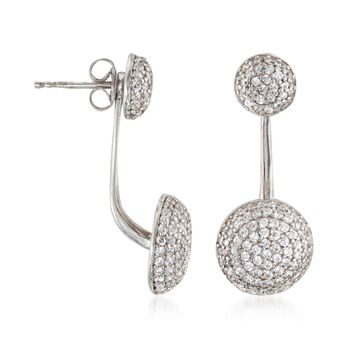 1.20 ct. t.w. Pave CZ Jewelry Set: Earrings and Front-Back Jackets in Sterling Silve, , default