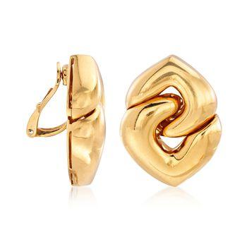 C. 1980 Vintage Bulgari 18kt Yellow Gold Interlocking Clip-On Heart Earrings , , default