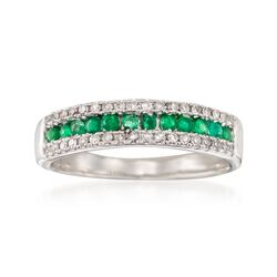 1.70 ct. t.w. Emerald and .20 ct. t.w. Diamond Ring in 14kt White Gold, , default