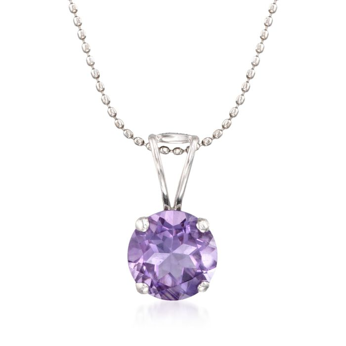 "1.75 Carat Amethyst Solitaire Necklace in 14kt White Gold. 16"", , default"