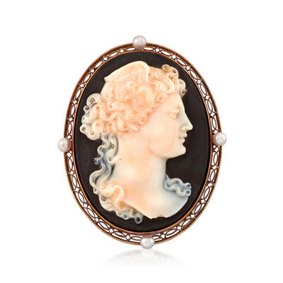 C. 1950 Vintage 34x26mm Black Agate and Cultured Pearl Cameo Pin in 14kt Yellow Gold, , default