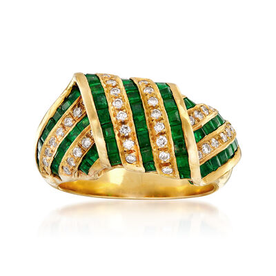 C. 1980 Vintage 1.80 ct. t.w. Emerald and .34 ct. t.w. Diamond Multi-Row Crossover Ring in 18kt Yellow Gold, , default