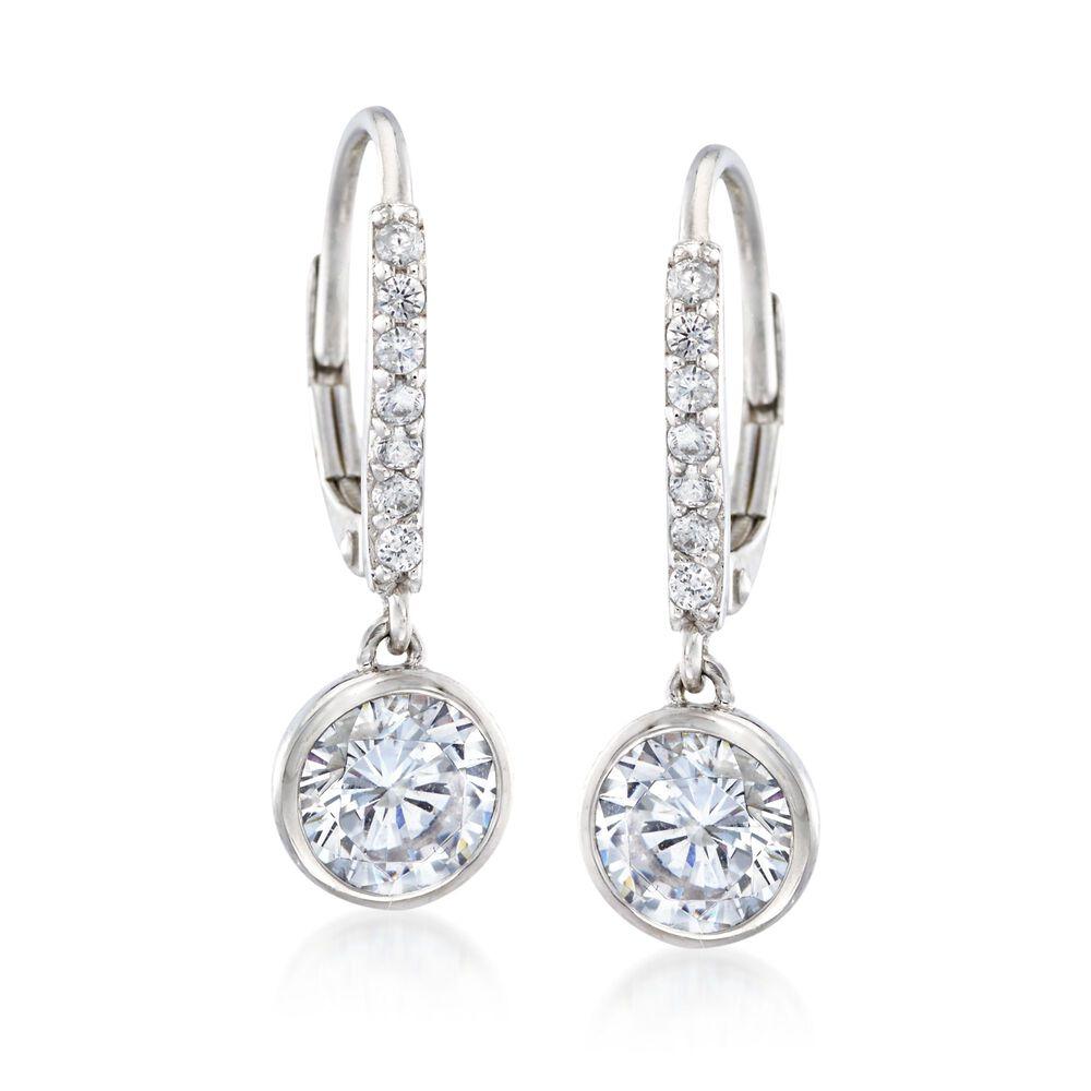 3f49602f3 2 40 Ct T W Bezel Set Cz Drop Hoop Earrings In Sterling Silver 7