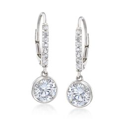 "2.40 ct. t.w. Bezel-Set CZ Drop Hoop Earrings in Sterling Silver. 7/8"", , default"
