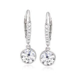 2.40 ct. t.w. Bezel-Set CZ Drop Hoop Earrings in Sterling Silver, , default