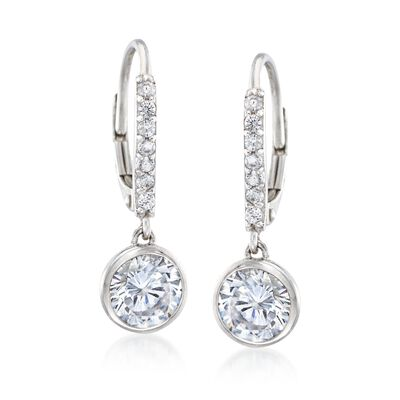 2.40 ct. t.w. Bezel-Set CZ Drop Hoop Earrings in Sterling Silver, , default