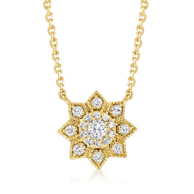 .25 ct. t.w. Diamond Flower Pendant Necklace in 18kt Gold Over Sterling