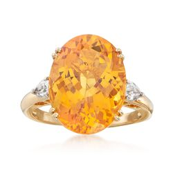 Oval Beryl and White Zircon Ring in 14kt Yellow Gold, , default