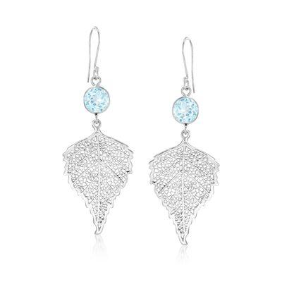 4.00 ct. t.w. Blue Topaz Leaf Drop Earrings in Sterling Silver, , default