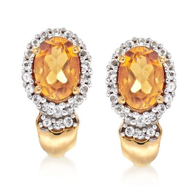 1.60 ct. t.w. Citrine and .33 ct. t.w. White Topaz Earrings in 18kt Gold Over Sterling , , default