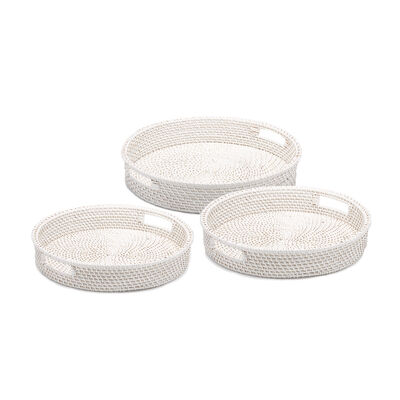 Set of 3 Rattan Artisanal White Woven Round Serving Trays, , default