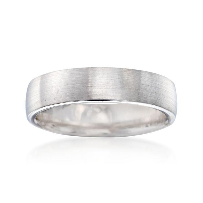 Men's 5.5mm 14kt White Gold Brushed Wedding Ring. Size 10, , default