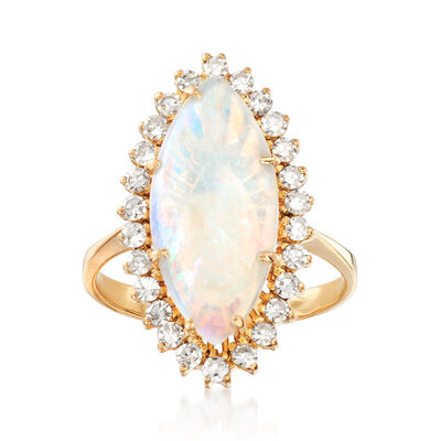 C. 1970 Vintage Opal and .60 ct. t.w. Diamond Ring in 18kt Yellow Gold, , default