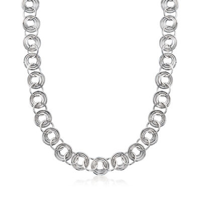 Italian Sterling Silver Multi-Ring Chain Necklace, , default