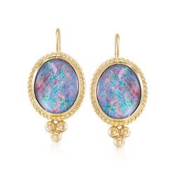 Blue Opal Triplet Drop Earrings in 14kt Yellow Gold, , default