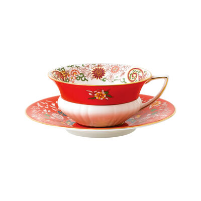 "Wedgwood ""Wonderlust"" Crimson Orient 2-pc. Teacup and Saucer Set, , default"