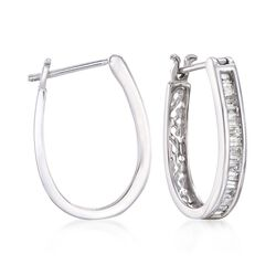 ".50 ct. t.w. Diamond Oval Hoop Earrings in 14kt White Gold. 3/4"", , default"