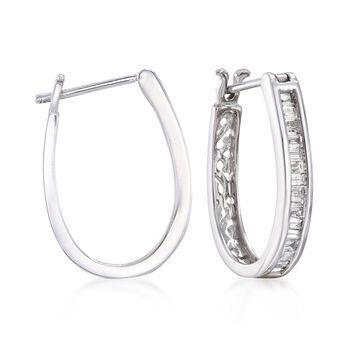 """.50 ct. t.w. Diamond Oval Hoop Earrings in 14kt White Gold. 3/4"""", , default"""