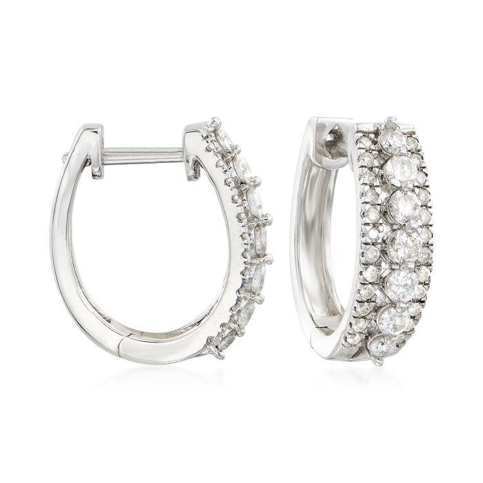 "1.00 ct. t.w. Diamond Hoop Earrings in Sterling Silver. 1/2"", , default"