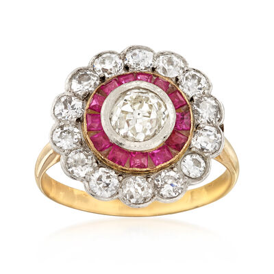 C. 1950 Vintage 1.75 ct. t.w. Diamond and .65 ct. t.w. Ruby Ring in Sterling Silver and 14kt Yellow Gold, , default