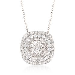 ".75 ct. t.w. Diamond Illusion Pendant Necklace in 14kt White Gold. 18"", , default"