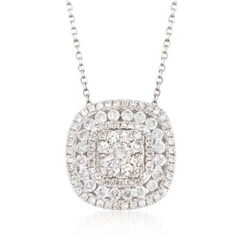 """.75 ct. t.w. Diamond Pendant Necklace in 14kt White Gold. 18"""", , default"""