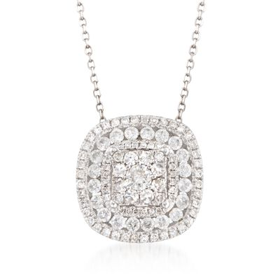 .75 ct. t.w. Diamond Pendant Necklace in 14kt White Gold, , default