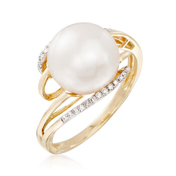 10-10.5mm Cultured Pearl Bypass Ring with Diamond Accents in 14kt Yellow Gold