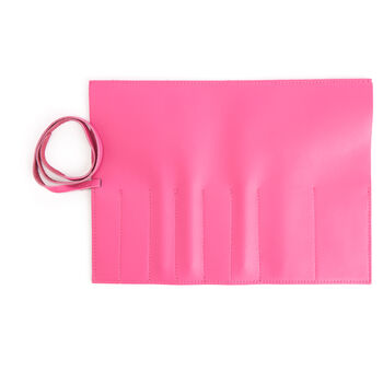 Royce Bright Pink Leather Makeup Brush Roll