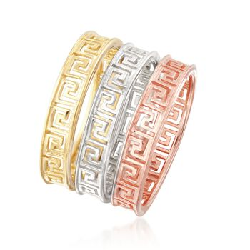 Italian Tri-Colored Sterling Silver Jewelry Set: Three Stackable Greek Key Rings, , default