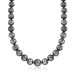 11-14mm Black Cultured Tahitian Pearl Necklace With 14kt White Gold, , default