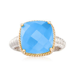 12mm Blue Chalcedony Ring in Sterling Silver With 14kt Yellow Gold, , default