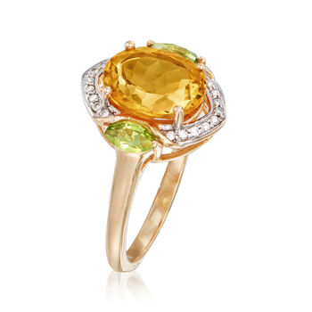 2.60 Carat Citrine and .30 ct. t.w. Peridot Ring with Diamond Accents in 14kt Yellow Gold. Size 9, , default