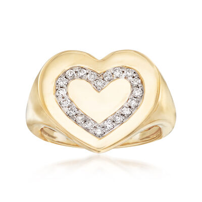 .16 ct. t.w. Diamond Heart Signet Ring in 14kt Yellow Gold, , default
