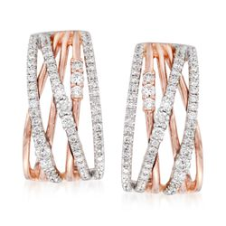 Simon G. .96 ct. t.w. Diamond Crisscross Earrings in 18kt Rose Gold. Clip/Post Earrings, , default