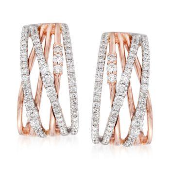 Simon G. .96 ct. t.w. Diamond Crisscross Earrings in 18kt Rose Gold. Clip/Post Earrings, , default