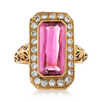 C. 1950 Vintage 2.25 Carat Pink Tourmaline and .45 ct. t.w. Diamond Ring in 14kt Yellow Gold, , default