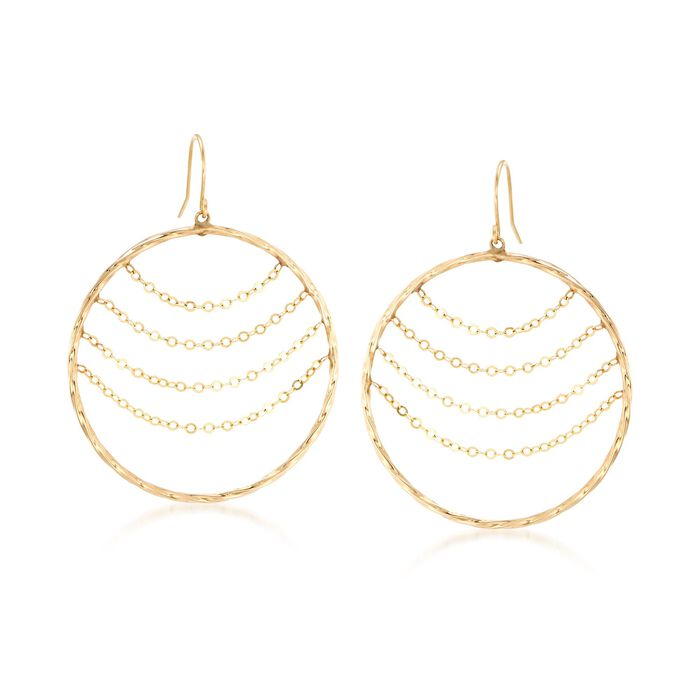 14kt Yellow Gold Twisted Open-Circle Drop Earrings with Draping Chains