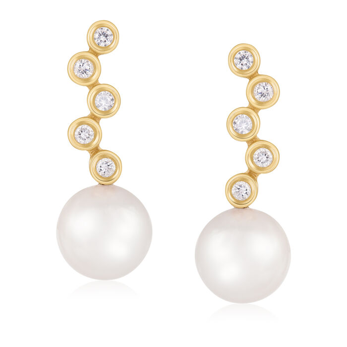 7-8mm Cultured Akoya Pearl and .20 ct. t.w. Diamond Drop Earrings in 14kt Yellow Gold