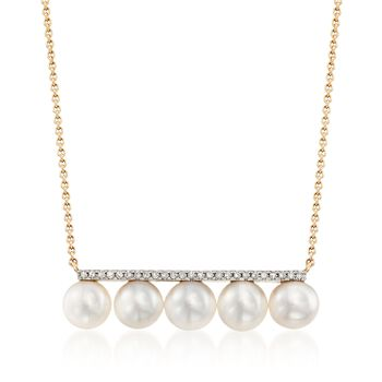 """6mm Cultured Pearl and .10 ct. t.w. Diamond Bar Necklace in 14kt Yellow Gold. 18"""", , default"""