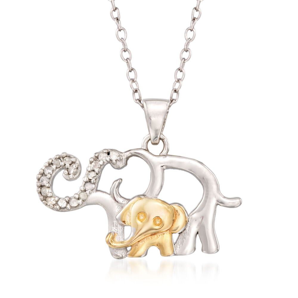 8e6f52047c86 t.w. Diamond Mother and Baby Elephant Pendant Necklace in Sterling Silver  and .