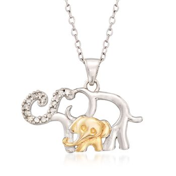 ".10 ct. t.w. Diamond Mother and Baby Elephant Pendant Necklace in Sterling Silver and 18kt Gold Over Sterling. 18"", , default"