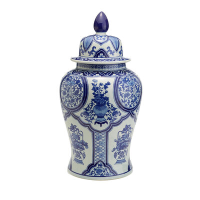 Blue and White Porcelain Floral Collage Large Temple Jar, , default