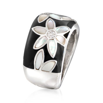 """Belle Etoile """"Moonflower"""" Black Enamel and Mother-Of-Pearl Ring with CZ Accents in Sterling Silver, , default"""